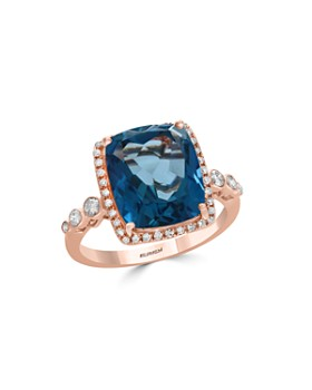 Bloomingdale's - London Blue Topaz & Diamond Bezel Ring in 14K Rose Gold - 100% Exclusive
