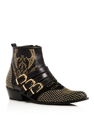 ANINE BING Women'S Penny Studded Leather Ankle Boots in Black