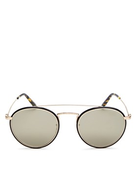 Oliver Peoples - Women's Ellice Mirrored Brow Bar Round Sunglasses, 50mm