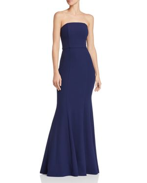 BARIANO MOONSTONE CONVERTIBLE STRAPLESS CREPE MERMAID GOWN
