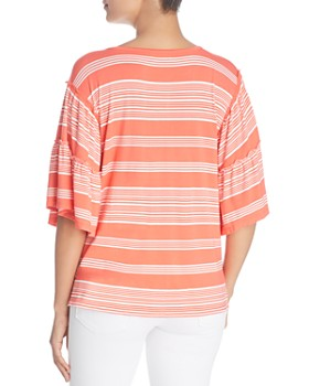 Cupio - Striped Bell-Sleeve Tassel Top