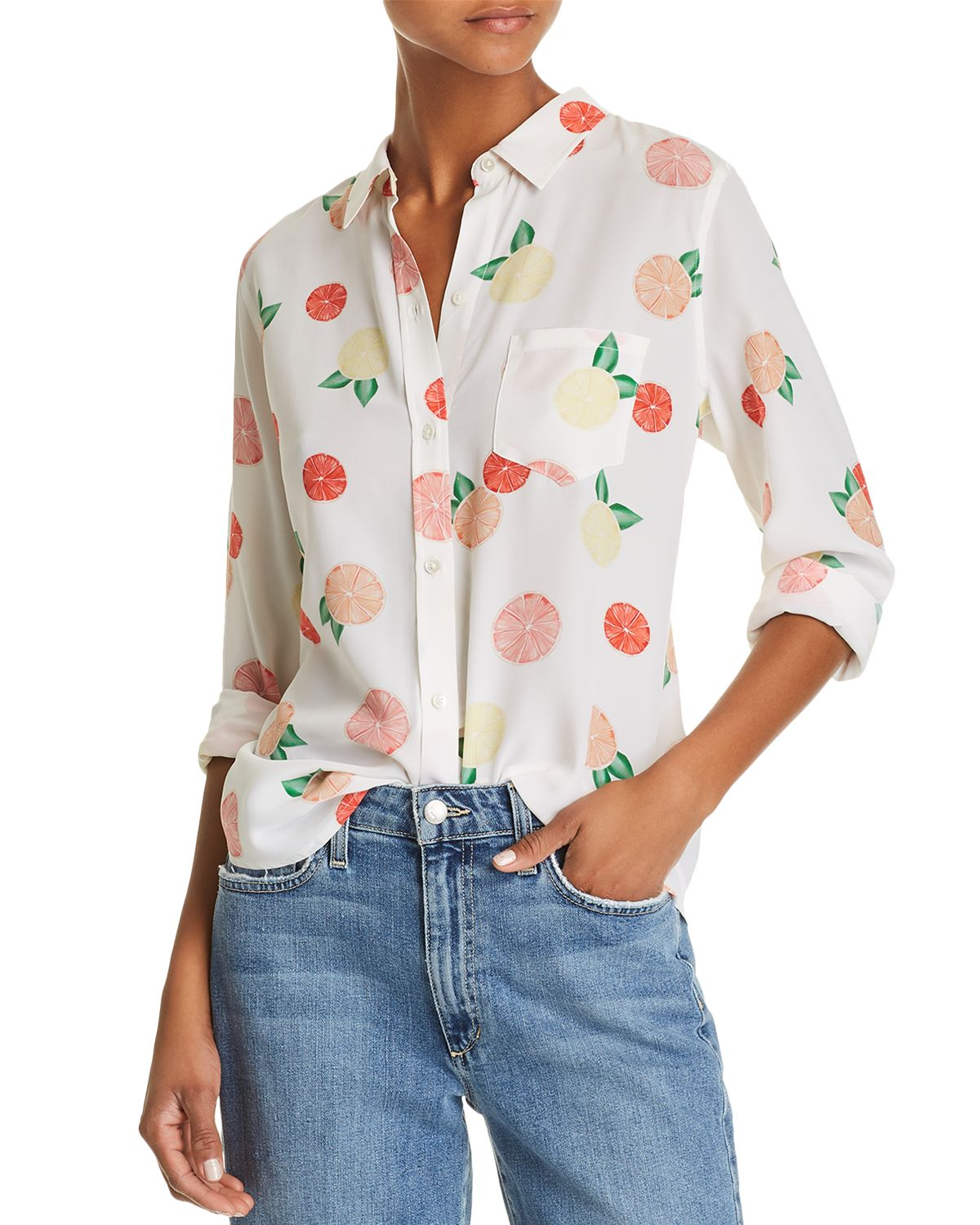 Kate Citrus Print Silk Shirt  by Rails