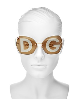 Dolce&Gabbana - Women's Lucia Mirrored Oversized Logo Lens Round Sunglasses, 64mm