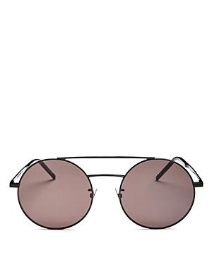 1633c408086c0 Saint Laurent Sl 210 F 56Mm Round Aviator Sunglasses - Black