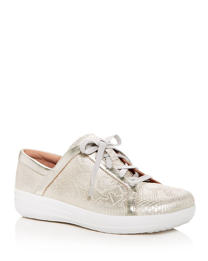 6b5da0e69f62 FitFlop - Women s F-Sporty II Python-Embossed Leather Platform Lace Up  Sneakers