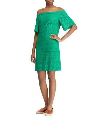 Turquoise Eyelet One Shoulder Dress