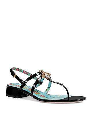 Gucci Women S Patent Leather Bee Sandals Bloomingdale S