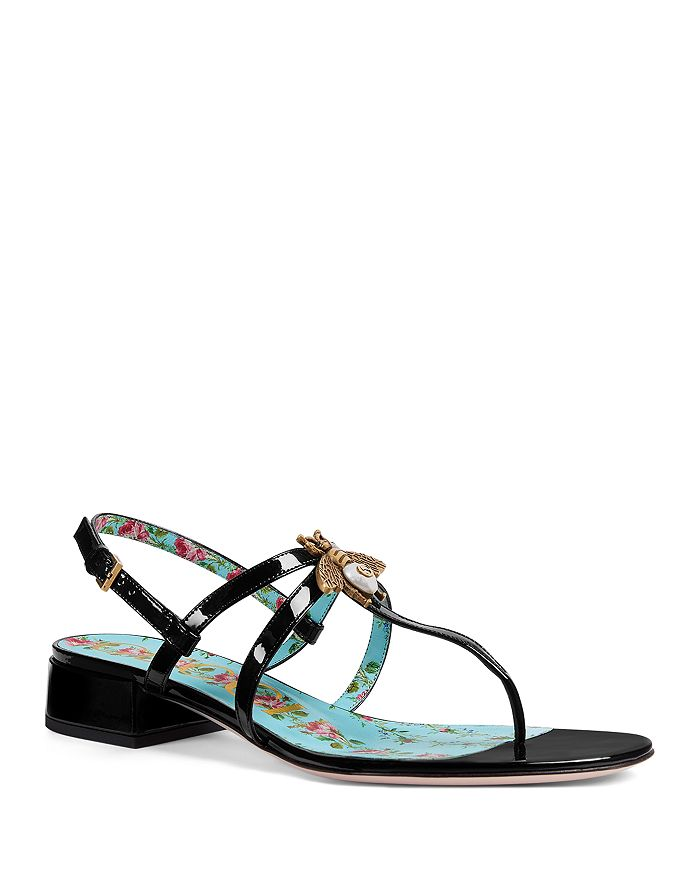 2044cefba7ff9 Gucci - Women s Patent Leather Bee Sandals