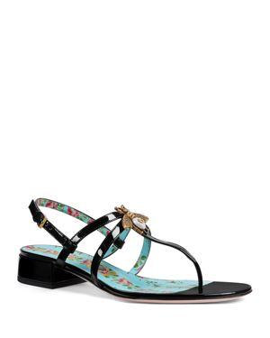 Patent Leather Sandals - Black Size 8