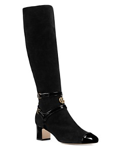 Gucci - Women's Suede Mid Heel Tall Boots