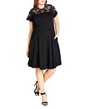 City Chic Plus Dark Mistress Lace Panel Dress