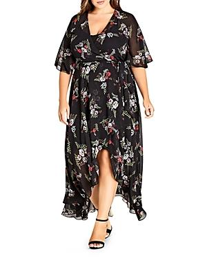City Chic Plus Floral Agave Wrap Dress