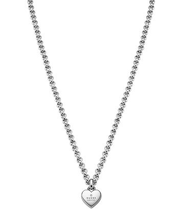 Gucci - Sterling Silver Trademark Heart Pendant Necklace, 24""