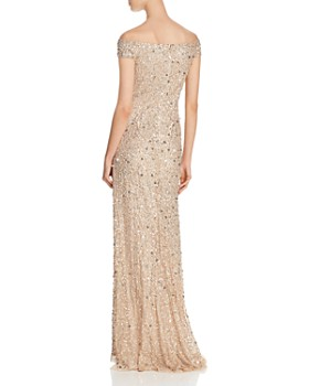 Adrianna Papell - Off-the-Shoulder Sequined Gown