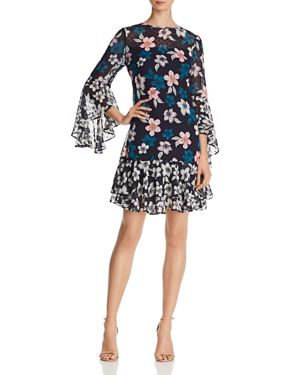 Eliza J Floral Bell-Sleeve Dress 2994444