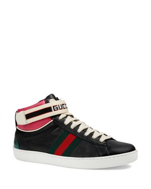 New Ace High Top Sneaker With Genuine Snakeskin Trim, Black
