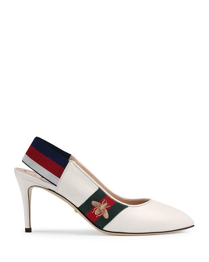 28d789cb7b8 Gucci Women s Sylvie Leather Web Mid Heel Slingback Pumps ...