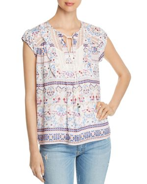DANIEL RAINN EMBROIDERED BORDER-PRINT TOP