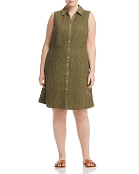 Foxcroft Plus - Leaf Eyelet Shirt Dress