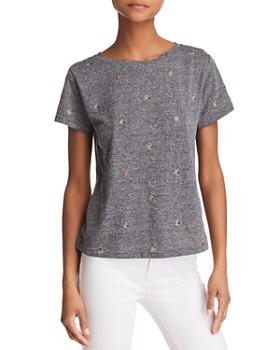 Honey Punch - Flower Embroidered Tee