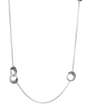 John Hardy Brushed Sterling Silver Legends Naga Round Chain Necklace with Black Spinel, 36