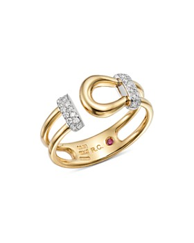 Roberto Coin - 18K White & Yellow Gold Classic Parisienne Diamond Ring - 100% Exclusive