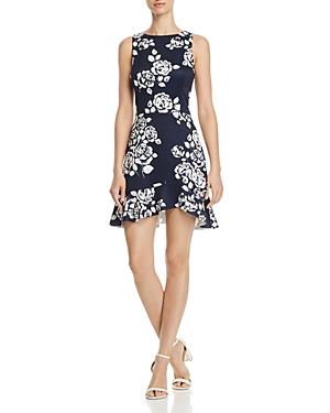 Aqua Rose Print Ruffle-Hem Dress - 100% Exclusive