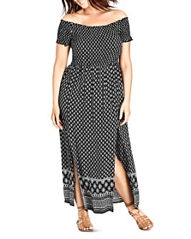 City Chic Plus - Smocked Off-the-Shoulder Maxi Dress