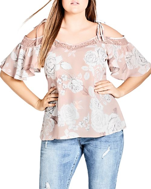 City Chic Plus - Whimsy Lace Inset Floral Top