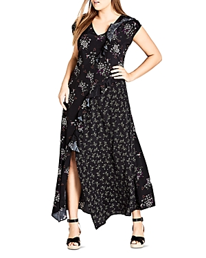 City Chic Plus Mixed Floral Ruffle Maxi Dress