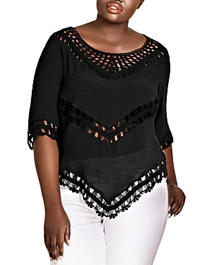 City Chic Plus Crochet-Trim Top