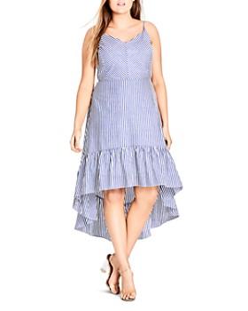 City Chic Plus - Mallorca Stripe High/Low Dress