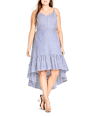 City Chic Plus Mallorca Stripe High/Low Dress