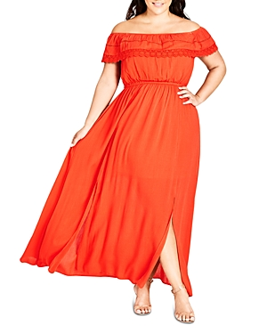 City Chic Plus Lace-Trim Off-the-Shoulder Maxi Dress