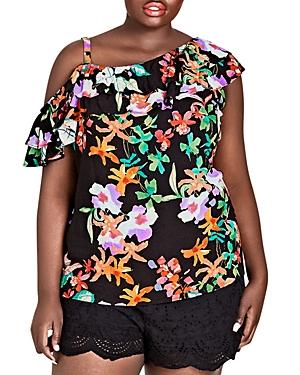 City Chic Plus Molokai Floral One-Shoulder Top