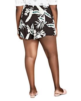 City Chic Plus - Oahu Floral Ruffle-Trim Shorts