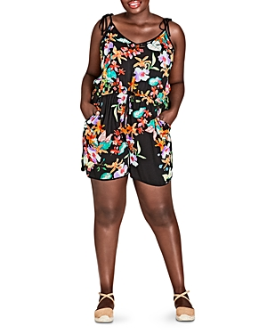 City Chic Plus Sleeveless Tropical Floral Romper