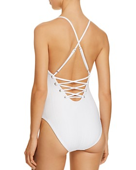 Red Carter - The Wave Lace-Up One Piece Swimsuit