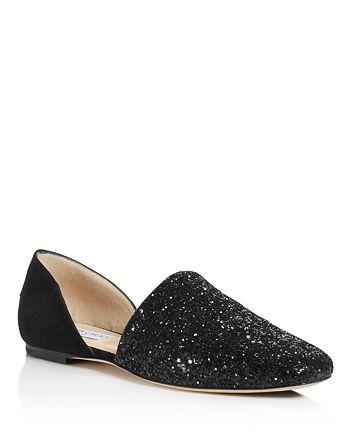d7435cf805ce Jimmy Choo Women s Globe Glitter   Leather d Orsay Flats ...