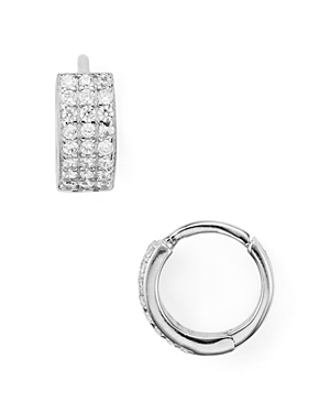 Small Triple Row Huggie Hoop Earrings in Platinum-Plated Sterling Silver or 18K Gold-Plated Sterling Silver