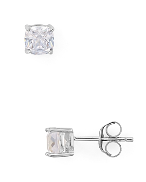 Cushion Cut Cubic Zirconia Stud Earrings in Platinum-Plated Sterling Silver