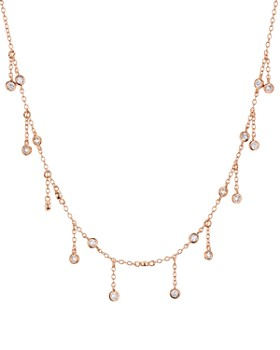 "AQUA - Droplet Necklace in Platinum-Plated Sterling Silver or 18K Rose Gold-Plated Sterling Silver, 14"" - 100% Exclusive"