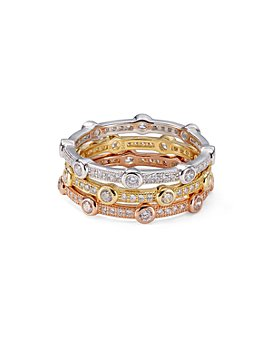 AQUA - Stackable Multicolor Pavé Rings in Platinum-Plated Sterling Silver, 18K Gold-Plated Sterling Silver or 18K Rose Gold-Plated Sterling Silver - 100% Exclusive