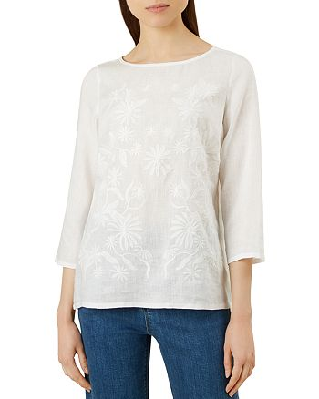 HOBBS LONDON - Hallie Embroidered Linen Top