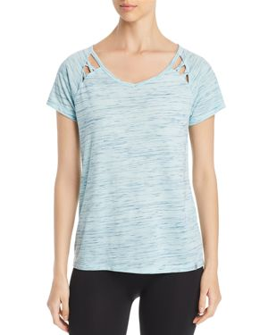 MARC NEW YORK PERFORMANCE SPACE-DYED CUTOUT TEE