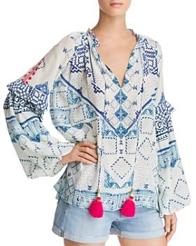 Hemant and Nandita - Embellished Silk Peasant Top