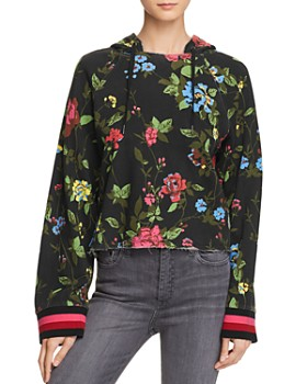 PAM & GELA - Floral Cropped Hooded Sweatshirt
