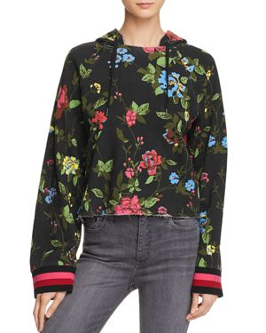 Floral Cropped Hooded Sweatshirt in Black
