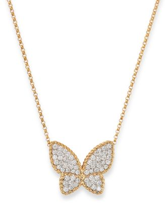 "18 K Yellow Gold Diamond Butterfly Pendant Necklace, 16"" by Roberto Coin"