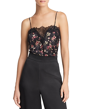 Cami Nyc PRINTED LACE-INSET SILK TOP
